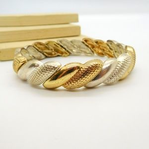 Mixed Metal Brushed Silver Gold Stretch Bracelet